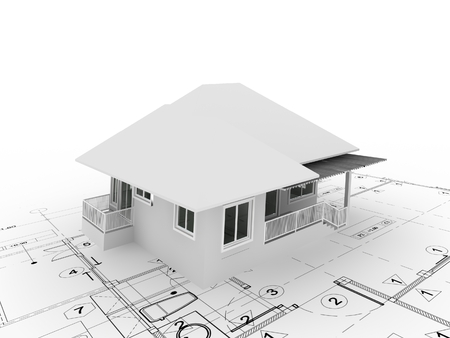 3D rendering di casa su piano