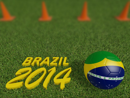 brazil 2014 on football or soccer field ,3d  photo