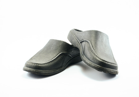 black rubber sandal  isolated on white background photo