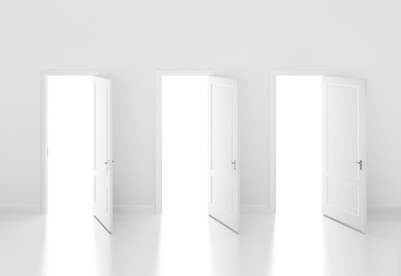 door open on white wall ,3d photo