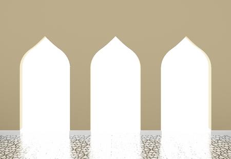 Archi in stile musulmani, architettura islamica rendering 3d