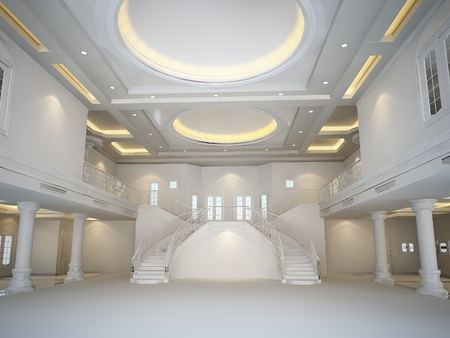 ketch: 3d render of interior luxury hall