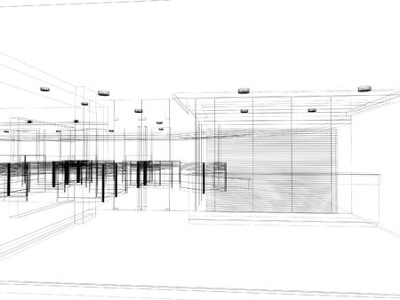 インテリアのホールは、ワイヤ フレーム スケッチ デザイン