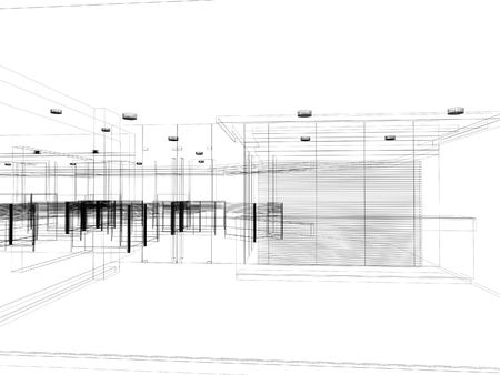 sketch design of interior hall, wire frame  Stock Photo