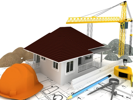 house under construction  with a crane and other building fixtures on top of blue print,3d render photo