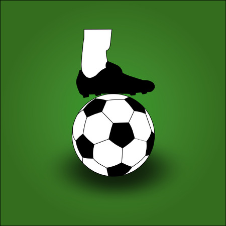 cleats: vector of  football or soccer boots with football or soccer ball  on green field