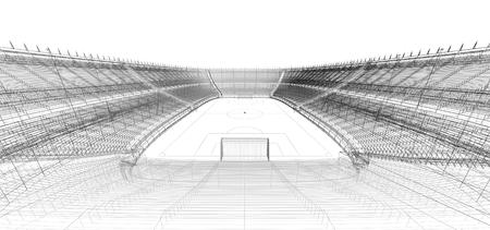 3d wireframe di calcio o calcetto stadio
