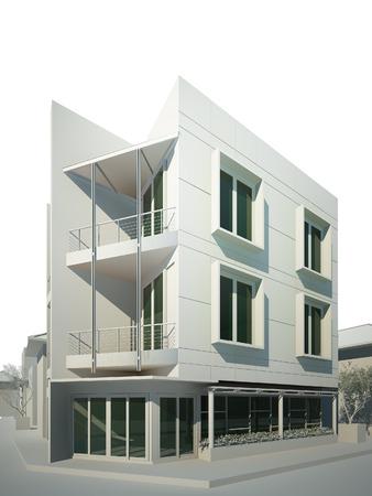 3D rendering di edificio Archivio Fotografico
