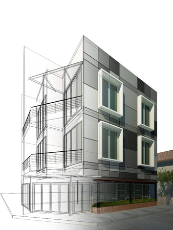 building sketch: abstract sketch design of building Stock Photo