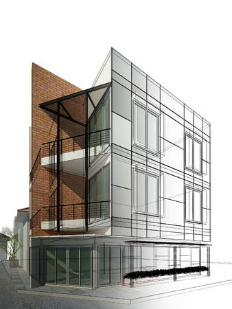 abstracte schets ontwerp van het gebouw