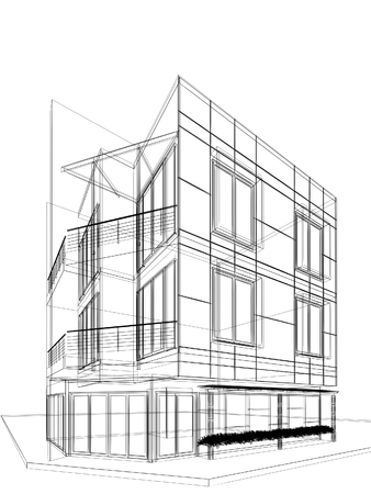abstract sketch design of building Stock Photo