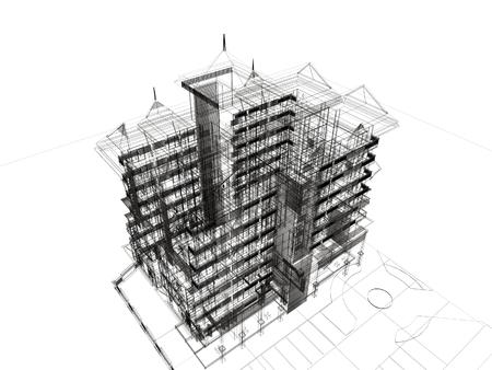 建物の抽象的なスケッチ デザイン