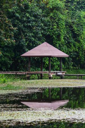 wood pavilion with lake in  Krating Waterfall National Park at Chantaburi, Thailand  photo