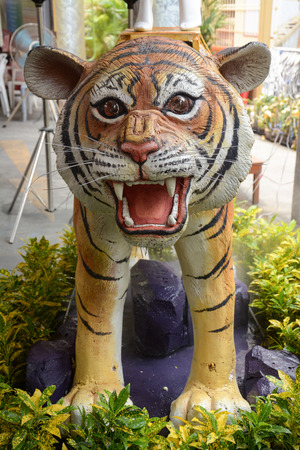 tiger statue in the garden  photo