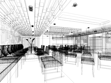 内装のレストランのデザインをスケッチします。 写真素材