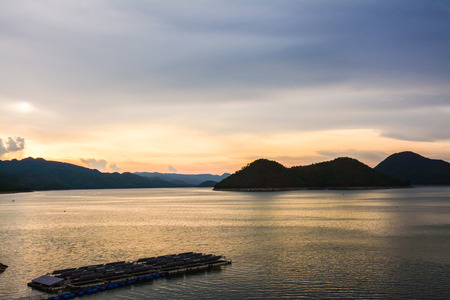 twilight of Srinakarin dam at kanchanaburi of Thailand photo