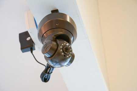 CCTV in building,on ceiling photo