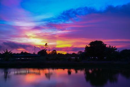 samutprakarn:  silouette  sunset at twilight  ,Samutprakarn Thailand Stock Photo