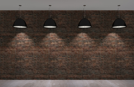 old brick wall with concrete floor at night,3d  photo