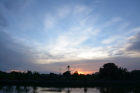 silouette sunset at twilight ,Samutprakarn Thailand photo