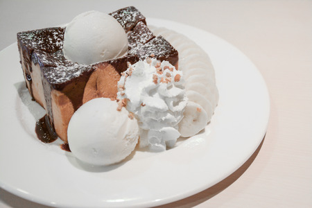 Toast Bread Pudding with ice cream  photo
