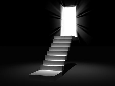 scale con la porta 3D di apertura Archivio Fotografico