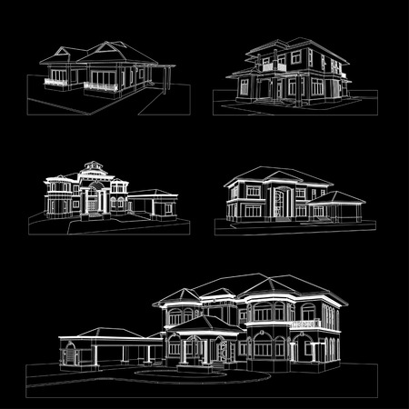 sketch design of house,vector  photo