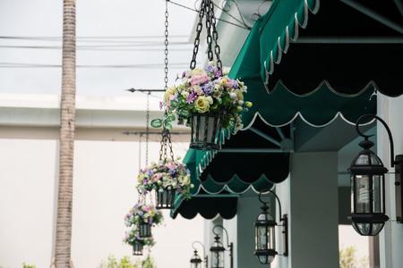 hanging basket of flowers  photo