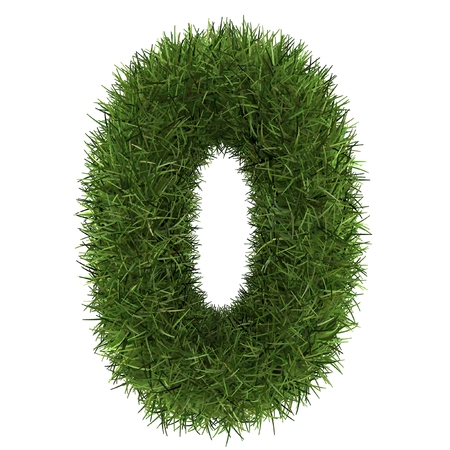 numbers 0 of green grass concept isolated on white