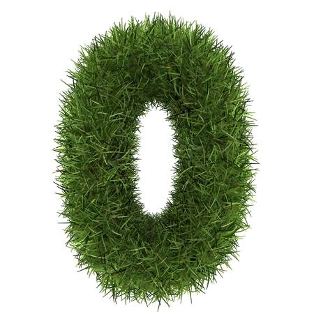 nummers 0 van groen gras concept geïsoleerd op wit