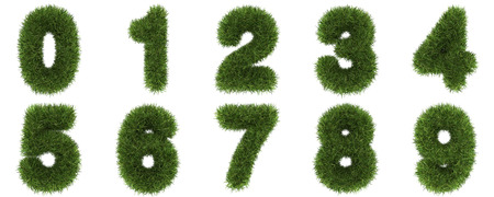 Numbers Made of Grass Turf Isolated on White Background  photo