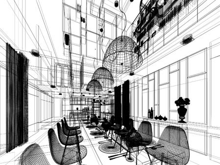 내부 식당의 추상적 인 스케치 디자인