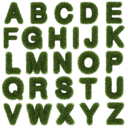 upper letters of green grass alphabet isolated on white background Stock fotó
