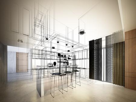 architect: Diseño Dibujo abstracto del interior de la cocina