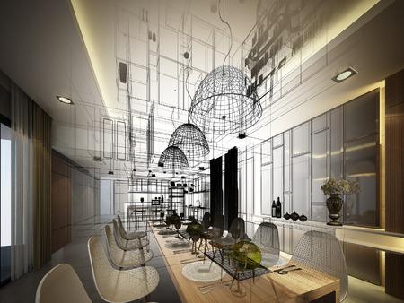 arquitectura: Diseño Dibujo abstracto de comedor interior Foto de archivo