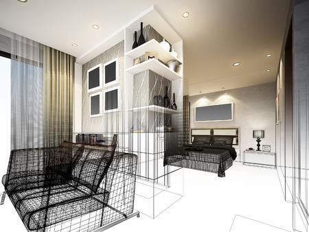 restaurant interior design: Abstract sketch design of interior bedroom