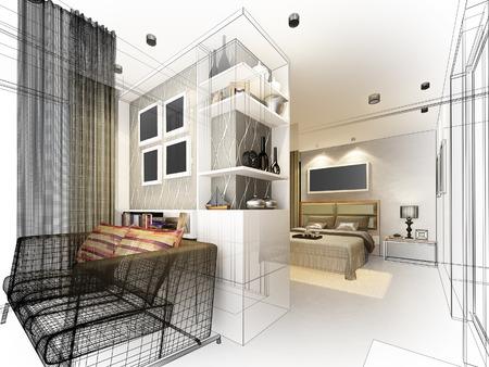 Disegno astratto schizzo di camera da letto interni