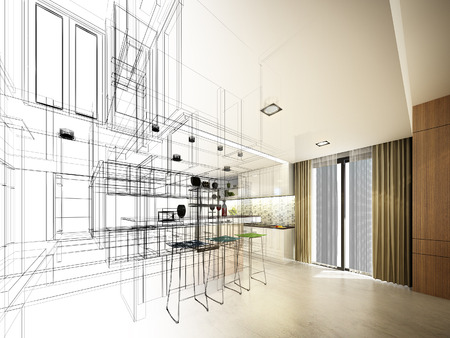 Abstract sketch design of interior kitchen photo