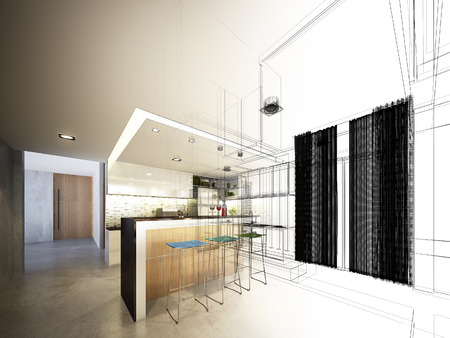 Abstrakte Skizze Gestaltung von Innen Küche Standard-Bild - 33218543