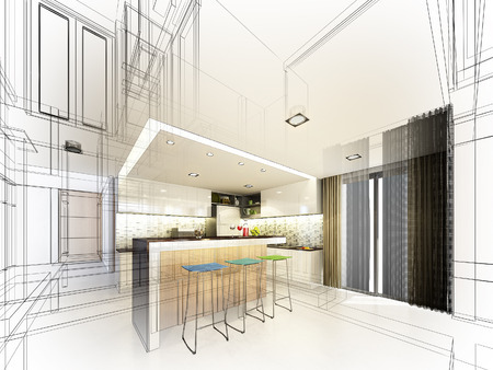 interior design living room: Abstract sketch design of interior kitchen