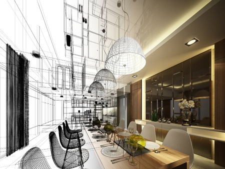 내부 식당의 추상 디자인 스케치