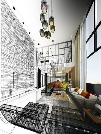 Abstracte schets ontwerp van het wonen