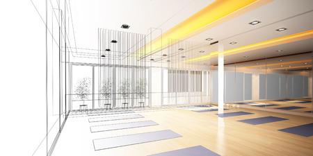disegno astratto disegno di sala yoga interna