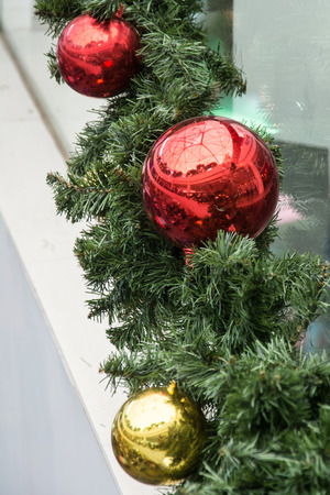 bedeck: christmas-tree decorative red and glod ball Stock Photo