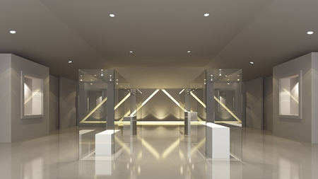 museo sala espositiva, concetto 3d