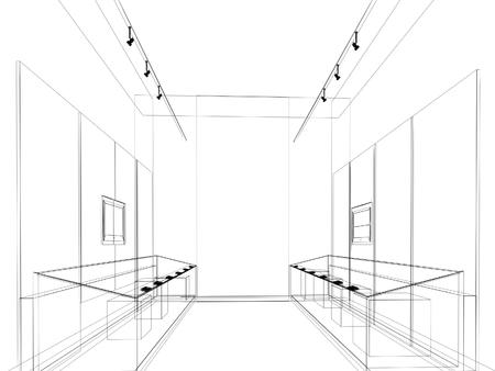 abstract sketch design of interior exhibition room ,museum