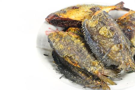 gourami: Fried Snakeskin gourami isolate on white Stock Photo