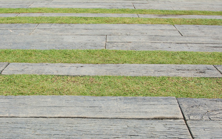 concrete path with grasses Stock Photo