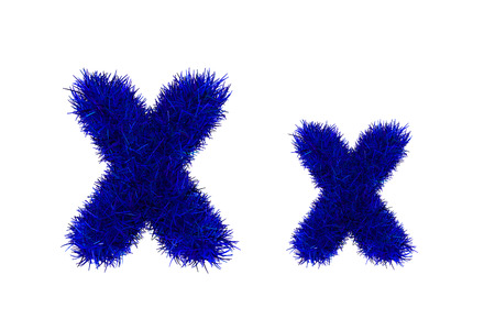 upper: blue grass letters, upper and lowercase Stock Photo