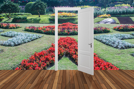 garish: Landscape behind the opening door,3D
